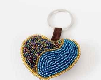 Heart beaded key chain