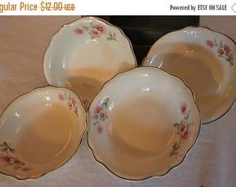 """SALE Set of 4 Homer Laughlin Virginia Rose 5.75"""" Fruit or Dessert Bowls"""