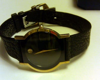 Slim Movado Sapphire Men's Watch Black Museum Dial Leather Band 87.C6.870.2 Rare