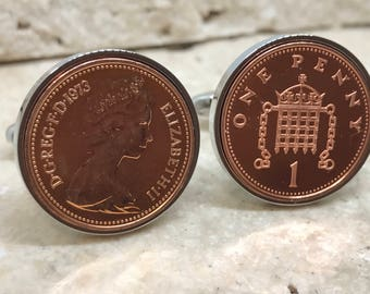 1973 one penny coin cufflinks - 45th birthday gift - silver plated