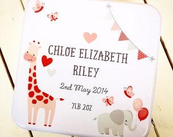 Baby Keepsake Box, Baby memory box, Box for Baby items, personalised keepsake box, christening gift, baby gift, TIN2
