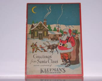 Vintage Christmas Book, Kaufman's Department Store, 1930's Store Giveway