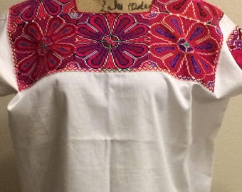 Mexican hand-embroidered huipil top