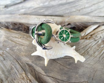 EXPRESS SHIPPING,Green Leather Bracelet,Wheel Anchor Bracelet,Nautical Bracelet,Cuff Bracelet,Gifts for Boyfriend,Christmas Gifts,