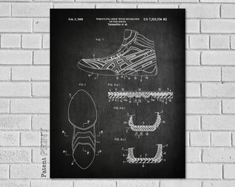 Wrestling Shoe Patent - Wrestling Decor - Wrestling Art - Wrestling - Wrestling Wall Decor - Wrestling Poster - Wrestling Print - SW336