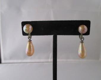 faux pearl tear drop screw back earrings