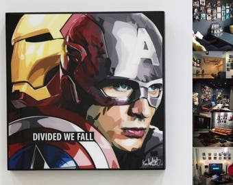 Marvel Wall Art Decal Quote Acrylic Canvas Poster Décor Gifts For Him/Her Avengers Civil War