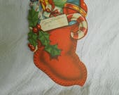 RESERVED Vintage Unused Christmas Card Ornament - Vintage Christmas Stocking Ornament - Vintage Christmas Card - Read to Ship