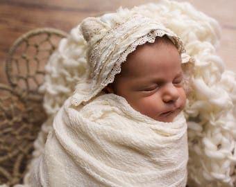 Newborn bear bonnet-newborn bear hat-newborn hat-lace bonnet-baby bonnet-newborn props-newborn outfit-beige props-natural props