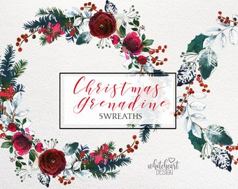 Christmas Watercolor Floral Wreath Clipart Watercolour Red Burgundy Green Flowers Spruce  Wine Colors Arrangement Printable Wall Art