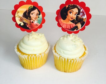Elena from Avalor~Inexpensive Cup Cake Topper ~ With Child's Favorite Characters~ Children Birthday Party Supplies~ 12 CT
