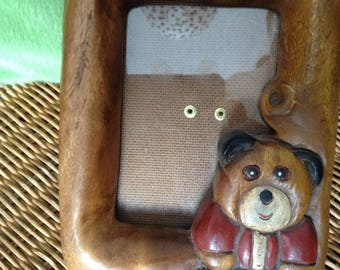 frame in olive wood carved antique Teddy bear with support for child's room