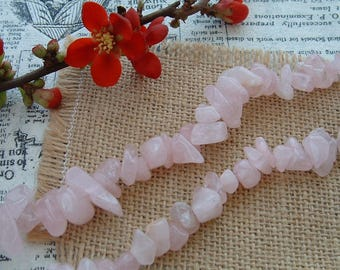 Set of 10g ROSE QUARTZ CHIPS beads 7 / 15mm