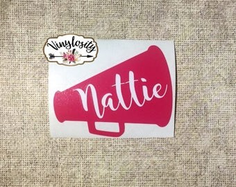Cheerleading Decal | Cheerleader Decal | Megaphone Decal | Personalized Decal | Monogram Decal | Yeti Decal | Car Decal | Vinyl Decal