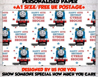 Personalised Thomas the tank engine Birthday Wrapping Paper.