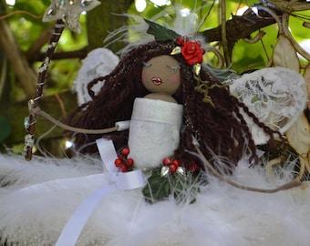 Christmas fairy doll with crystal wand.