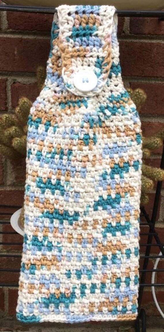Crochet kitchen towel handmade hand towel hanging crochet Bathroom hand towels with hanging loops