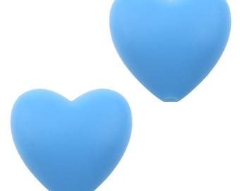 Pearl silicone blue heart 20 x 20 x 12 mm