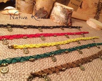 Handmade anklets,boho jewellery,Macrame Anklet with brass beads, brass pendants,Handmade macrame jewellery,Anklets,adjustable anklets,