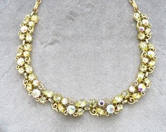 Vtg Lisner Necklace Jonquil Yellow AB Rhinestone Necklace 1960's