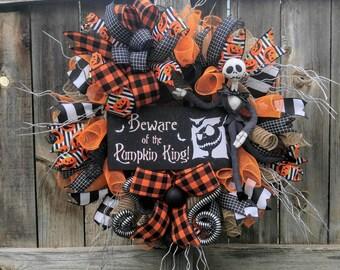 Halloween wreath, Jack skellington wreath, nightmare before Christmas wreath, orange and black Halloween wreath, Halloween door hanger