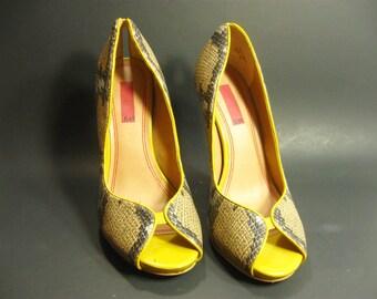 Women High Heel Pumps Snakeskin Leather Upper Peep Toe Shoes US 5.5/ EU36