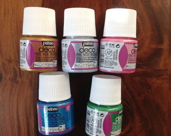 Set of 5 bottles of acrylic paint, pebeo brand, deco, mother of Pearl