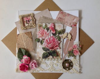 Shabby chic card, birthday woman, all occasions, flowers, roses and lace