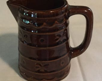Marcrest Stoneware Daisy and Dot Pattern Small Pitcher