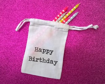 """Bag fabric """"Happy Birthday"""" personalized writing vintage"""