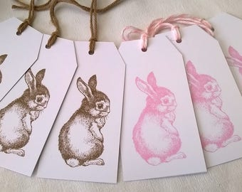 Six tags pink and Brown, spring & Easter rabbits