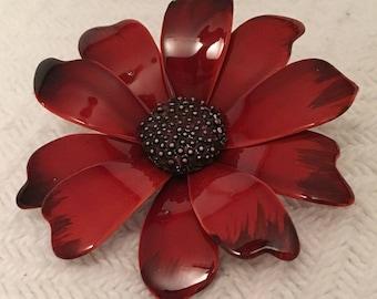 Vintage 1960s Red Enamel Flower