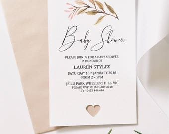 Personlised Baby Shower Invitations. Floral Leaf