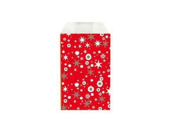 Set of 50 - bags gift bag kraft paper for jewelry or small items 12 X 7 cm red and silver stars