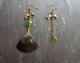 Gold and small pheasant feather earrings with Green bow