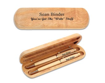 Personalized Writing Pen Gift Set - Laser Engraved Pen Set in Wooden Box - Completely Customizable Double Pen Set - Office Gift Idea