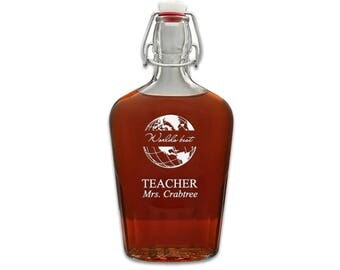Laser Engraved Personalized 17oz World's Best Teacher Glass Flask - Customized Glass Liquor Carafe for Teacher - Gift for Teacher Idea