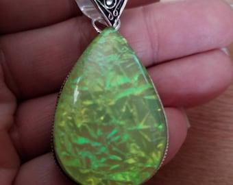 Huge Teardrop Lemon- Lime Fire Opal Pendant!