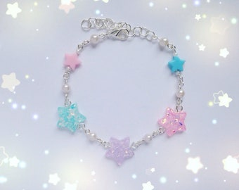 Cute Star Bracelet with Star & Pearl Bead Details, Fairy Kei, Mahou Kei, Sweet Lolita, Harajuku etc inspired