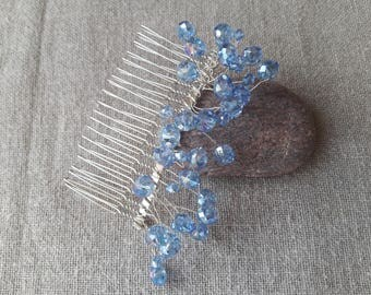 Great large wedding comb comb Sky Blue Crystal beads large Crystal bead