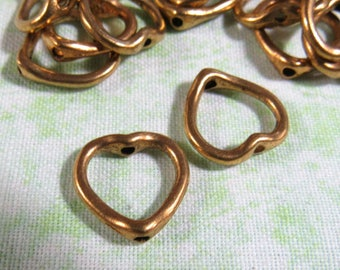 25 Ant Gold Heart Bead Frames 13mm (B318p)