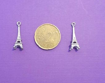 Set of two silver metal Eiffel Tower charms
