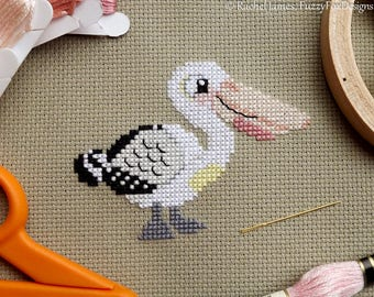 Australian Pelican Cross Stitch Pattern PDF | Cute Little Bird | Easy | Modern | Beginners Counted Cross Stitch | Instant Download