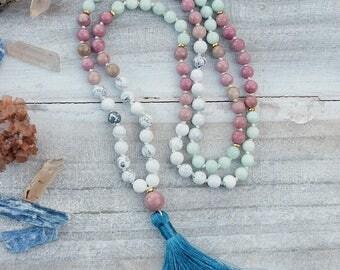 Howlite Mala, Rhondonite Mala, Amazonite Mala, 108 Mala Necklace, Hand Knotted Mala, Meditation Mala, Tassel Mala, Gemstone Mala, Mala Beads