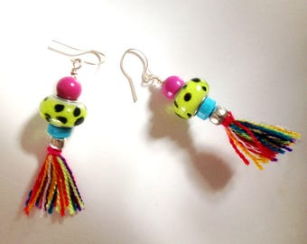Cute pair of colorful glass and ceramic earrings