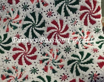 Hand Crocheted  Mint Swirl Blanket - Red, Green, White