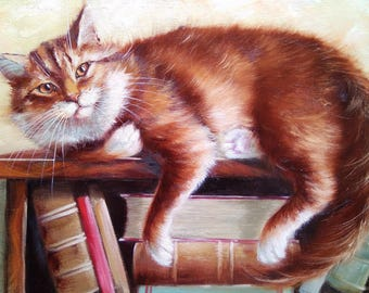 Book Keeper Oil Painting Cat