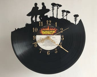 Handcarved surfers vinyl record clock, retro wall clock, vinyl art clock, vinyl wall clock, record wall clock