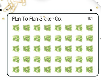 1151~~Single Dollar Bill Money Payday Planner Stickers.