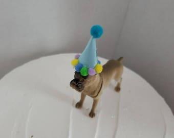 Dog Cake Topper, Dog Party Animal Cake Theme, Dog Cake Theme, Dog Party, Dog Birthday Party, Boxer Dog Cake Topper, Dog With Hat, Dog Theme